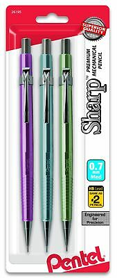 Pentel Sharp Mechanical Pencil 0.7Mm Metallic Barrels, Assorted Colors, Pack ...