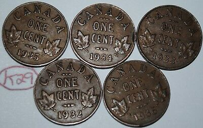 Canada 1932 1933 1934 1935 1936 George V 1 Cent Canadian Copper Coins Lot #K29