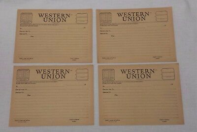 4 Vintage Late 40's Western Union Telegram Message Blanks Form 1207 fms