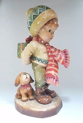 ANRI Italy Vintage Carved Wood Figurine Boy with Dog - Numbered