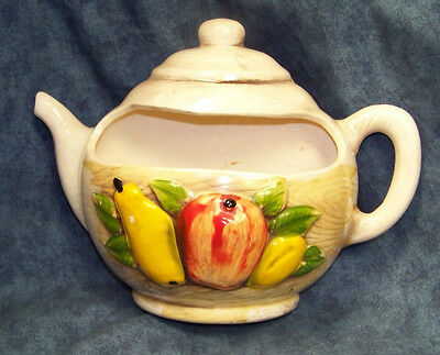 Awesome Vintage Antique Fruit Teapot Ceramic Pottery Wall Pocket