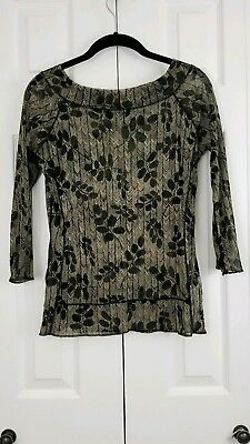 The Limited Semi Sheer Blouse Size Large - -*Black/Beige/Red 3/4 Sleeve