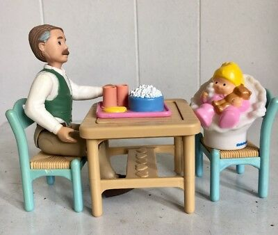 Fisher Price Loving Family Doll House Furniture Table & Grandfather, Baby +