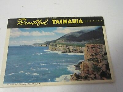 Beautiful Tasmania vintage 1950's Postcard fold out black & white + colour