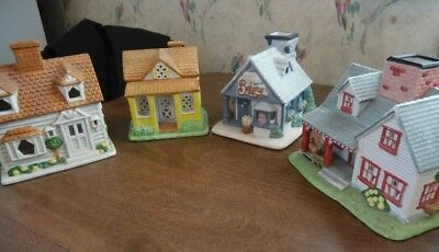PartyLite Village Lot of 4 Tealight Houses