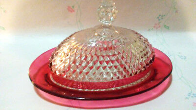 Vintage Oval Covered Butter Dish Indiana Glass Ruby Red Diamond Point Cut Glass