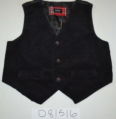 NEW Boys Black Corduroy Cord DRESS HOLIDAY CHURCH VEST size 18M