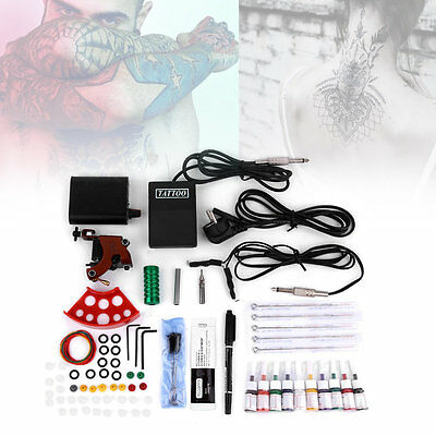 Machine Gun Power Needles 5 Color Ink Set Complete Tattoo Equipment Kit I6