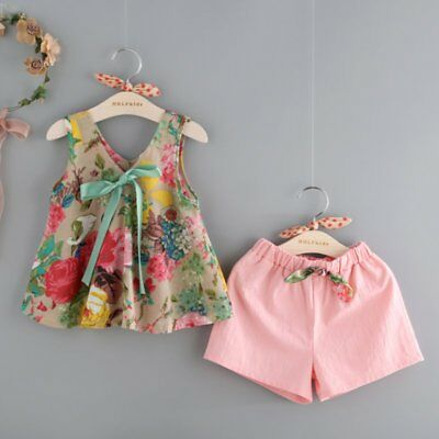 US Toddler Kids Girl Summer Bowknot Floral Vest + Shorts Outfits Clothes Sunsuit