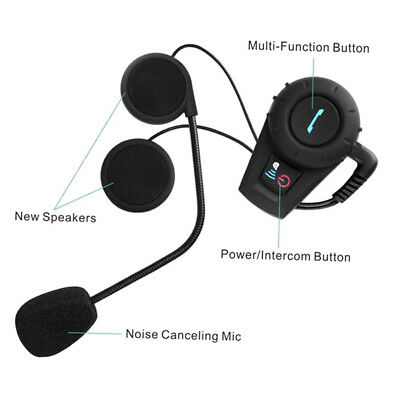 500M BT Bluetooth FM Radio Motorcycle Helmet Intercom Interphone Headset AU