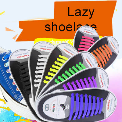 Easy No Tie Shoe Lace Silicone Trainers Shoes Adult Kids Sport Shoelaces G1