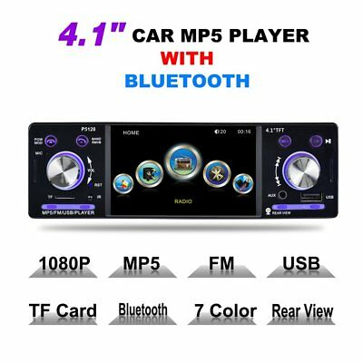"""4.1"""" HD LCD Touch Screen Car MP5 Player 1080P 7 Color Button FM/AM/RDS Tuner AU"""