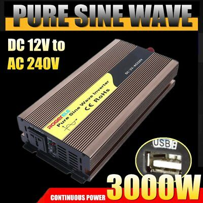 Pure Sine Wave Power Inverter 3000W - 6000W DC12V to AC240V Camping Boat Charger