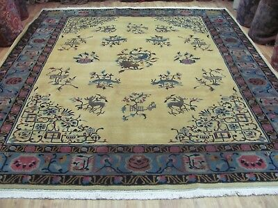 A DELIGHTFUL OLD HANDMADE CHINESE ORIENTAL RICH PILE CARPET (350 x 290 cm)