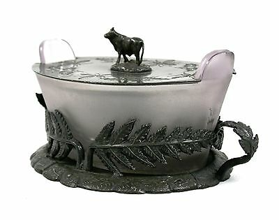 Antique Edwardian Pewter Butter Dish Cow Finial Lilac Glass Liner Holly Novelty