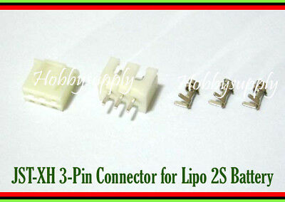 3 SETS JST XH 3-Pin 2.5mm Male Female Connector with Crimp for 2S Li-po Battery