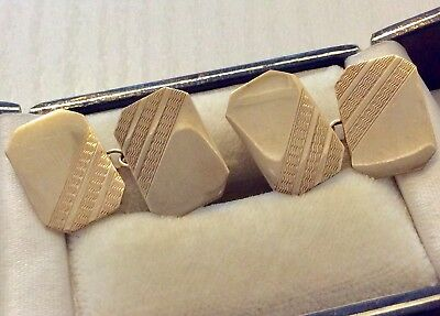 Nice Pair of Early Vintage Full Hallmarked 9 Carat Gold Gents Cufflinks 9CT