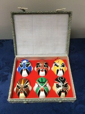 Box of 6 Miniature Oriental Colourful Hand-Painted Clay Masks ***MAKE AN OFFER**
