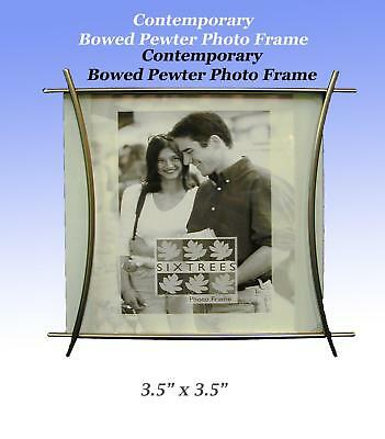 "Modern Bowed Pewter Photo Frame 3.5""x3.5"". Free Standing, Velvet Back and Stand."