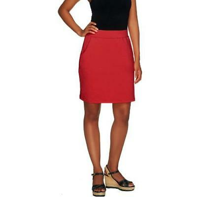 Denim & Co. Active Size XL Red Pull-On Knit Skort with Pockets
