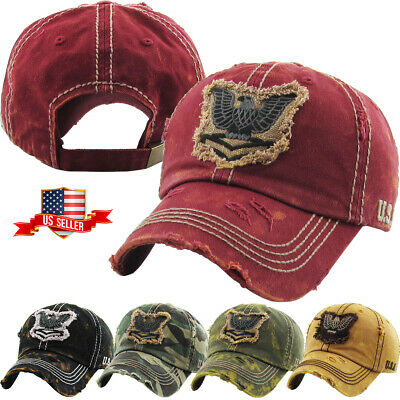 3cf5cc1fc1e4b MILITARY USA VINTAGE Distressed Baseball Cap Dad Hat Adjustable ...