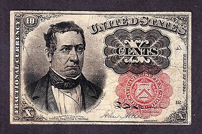 US 10c Fractional Currency Note 5th Issue Pos A-12 FR 1265 VF (HG-47-016)