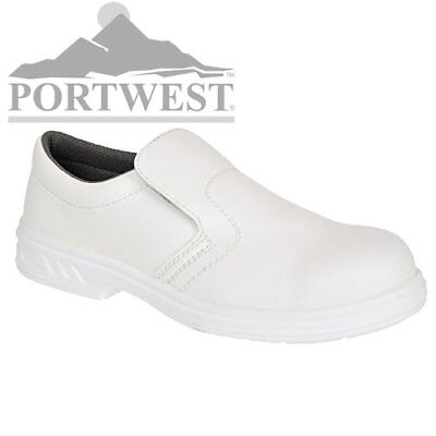 Portwest Unisex Anti Slip S2 MicroFibre White Food Industry Slip-On Safety Shoes