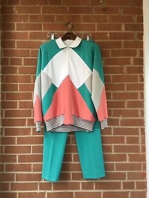 Vintage 80s 90s Graphic Pink And Green Tracksuit Sweatsuit