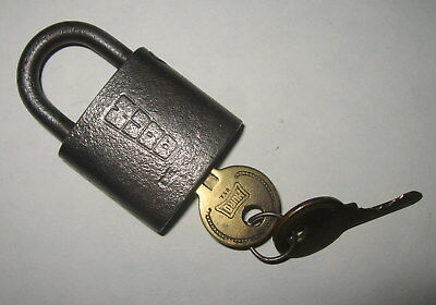 Old Vintage Antique Steel Hurd Lock w/ 2 Brass Keys USN US Navy - NOT WORKING