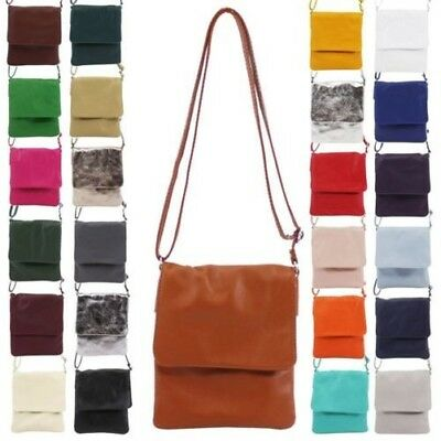 New Genuine Leather Flap Over Vera Pelle Ladies Small Crossbody Bag 8d62e565ffbe7