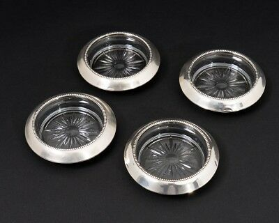 Set of 4 Vintage Sterling Silver & Cut Glass Frank M Whiting Beverage Coasters