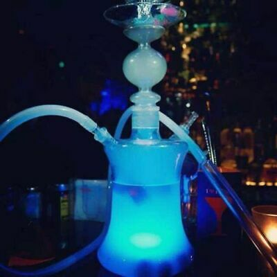 US Big Glass Shisha Hookah With LED Lights Silicon Hose Remote Switch