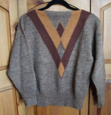 Vintage Spanner Mohair Alpaca Wool Brown Boat Neck Pullover Sweater