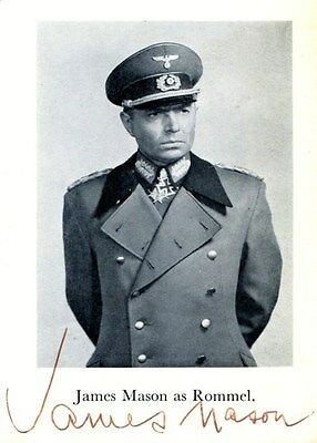 rare autographe JAMES MASON ( † 1984) dédicace signed photo signiert ROMMEL