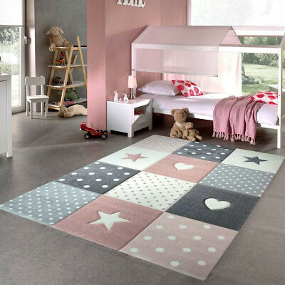GIRLS BEDROOM Rug Pink Grey Stars Hearts Check Pattern Soft Children ...
