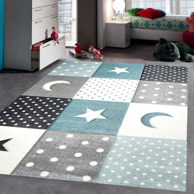Attrayant Grey Blue Star Rug Children Kids Boys Bedroom Rugs Soft Thick Woven  Playroom Mat