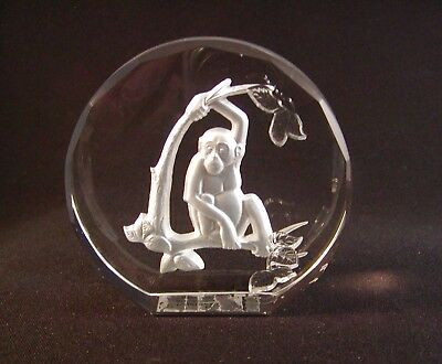 Vintage Monkey Figurine Wildlife Crystal The Danbury Mint W. Germany