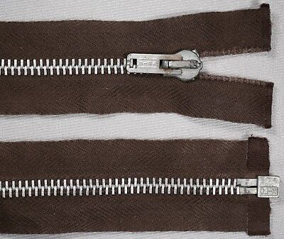 """19"""" 49cm brown CLIX silver metal teeth OPEN END ended auto lock zips"""