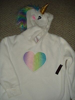 NEW No Boundaries Juniors Sz L/XL 15/17 Rainbow UNICORN Fleece Hoodie Sweatshirt