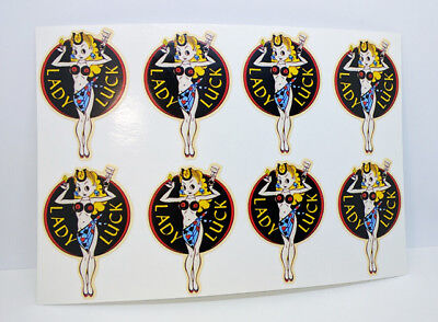 2 Inch LADY LUCK Vintage Style DECALs, Vinyl STICKERs, Set of 8, rat rod, racing