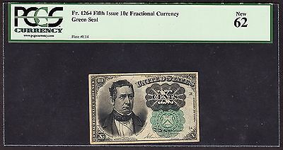 US 10¢ Fractional Currency Note 5th Issue Green Seal FR 1264 PCGS 62 CU