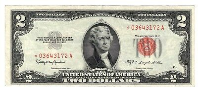 1953 C $2 US Note Red Seal Star Note - VF !!