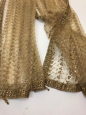 $14 Partywear  Gold Dupatta Indian  Wedding Fancy  Scarf  Match any Dress Suit