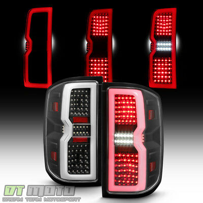 Black 2014-2017 Chevy Silverado 1500 2500 Sequential Signal LED Tube Tail Lights