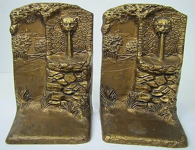 Antique Judd Co Lions Head Fountain Landscape Scene Bookends CJO 'Real Bronze'