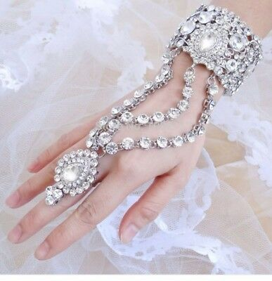 bridal slave hand chain bangle ring set clear Austrian Crystal( discount price).
