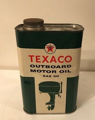 Vintage Texaco Outboard Motor Oil Can SAE 30  From 1957 (empty) 1 Quart Size
