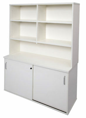 Office Overhead Hutch Adjustable Shelves W1800mm or W1200mm Beech & White