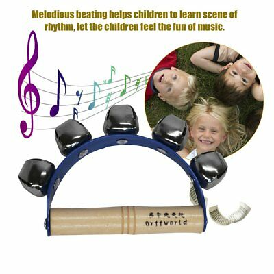 Orff World 5 Bells Plastic Hand-held Sleigh Bells With Wooden Handle For Kids OK