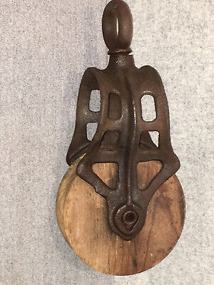 Antique Vintage Cast Iron  Wood Barn Hay Pulley - Old Primitive Farm Tool